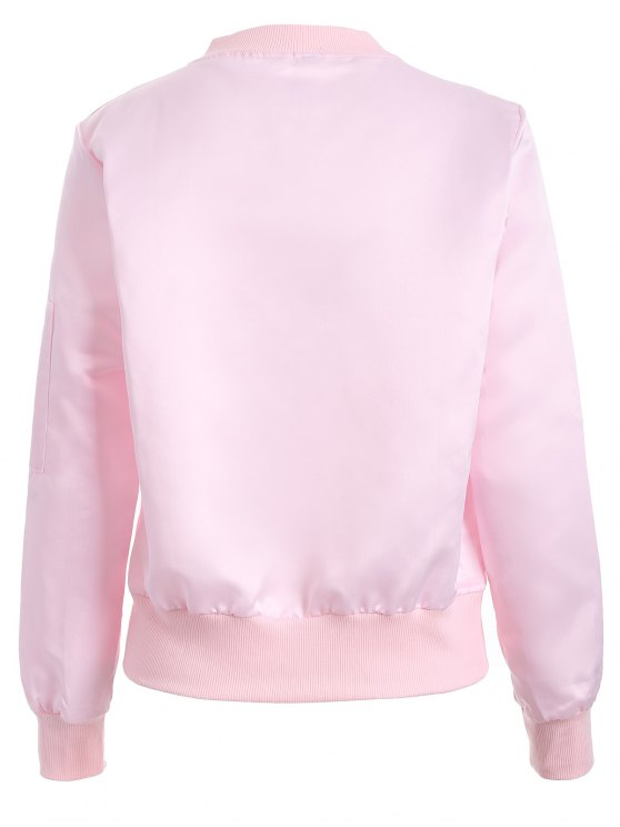 Zip-Up Bomber Jacket - PINK S Mobile