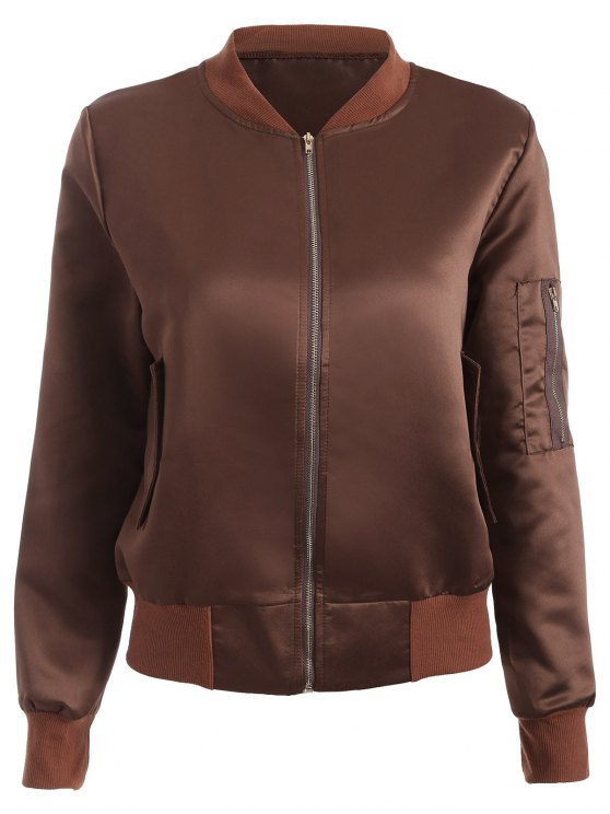 fancy Zip-Up Bomber Jacket - COFFEE L