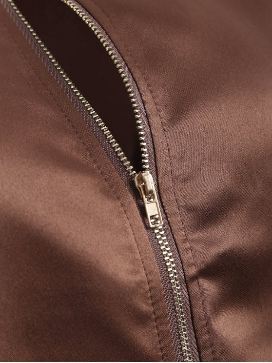 Zip-Up Bomber Jacket - COFFEE M Mobile