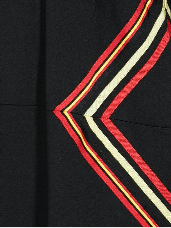 Long Sleeve Geometric Mini Black Shift Dress - BLACK M Mobile