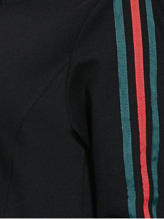 Ruffle Hem Hoodie Dress - BLACK L Mobile