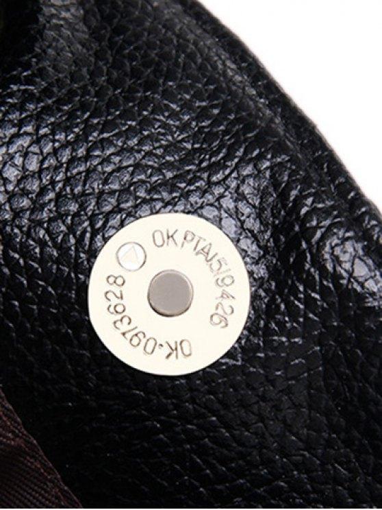 Drawstring Magnetic Closure Chain Shoulder Bag - BLACK  Mobile