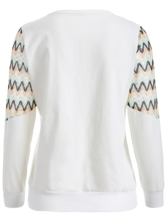 See-Through Panelled Sweatshirt - WHITE 2XL Mobile
