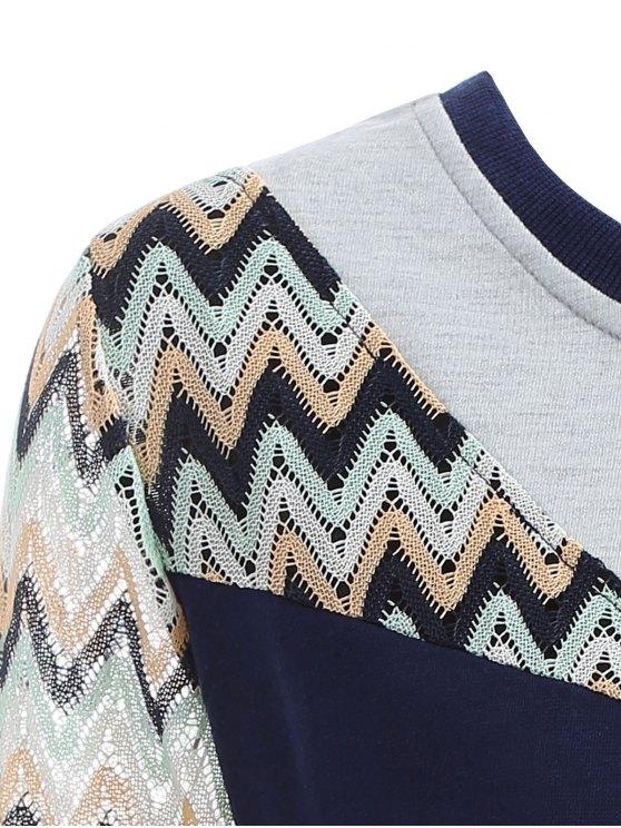 See-Through Panelled Sweatshirt - PURPLISH BLUE 2XL Mobile