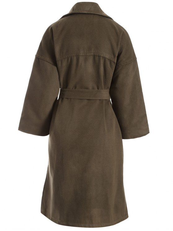 Wool Blend Winter Wrap Coat - ARMY GREEN L Mobile