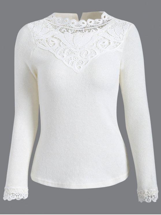 Recorte de ganchillo Jumper - Blanco L