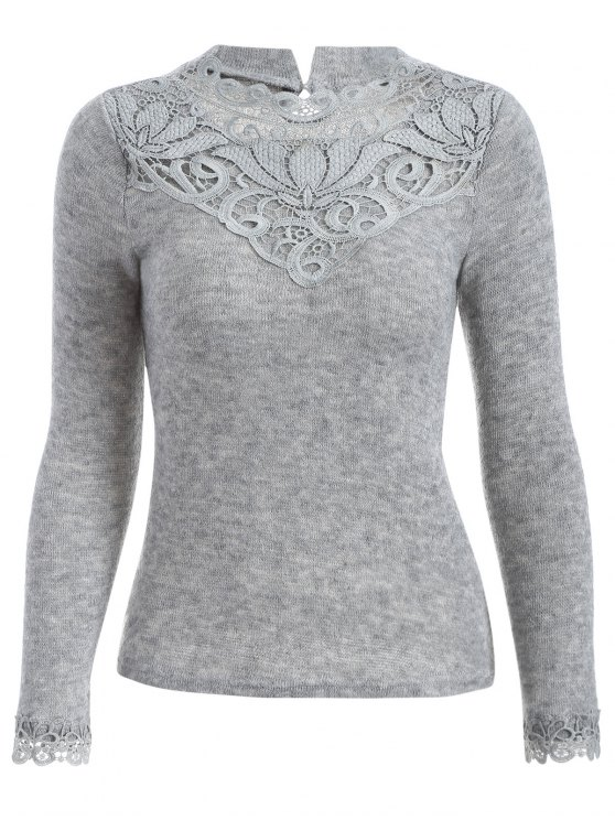 online Crochet Trim Jumper - GRAY S