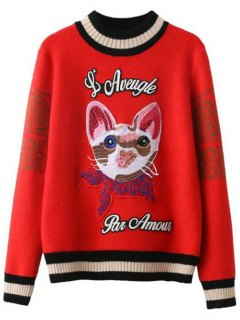 Kitten Embroidered Ribbed Sweater - Red