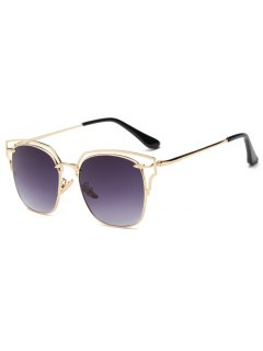 Hollow Out Irregular Square Sunglasses - Golden