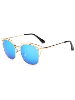 Hollow Out Irregular Square Mirror Sunglasses - Ice Blue