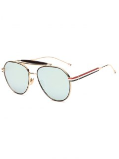 Crossbar Striped Leg Pilot Mirror Sunglasses - Grey Blue