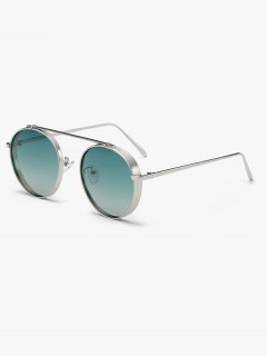 Chunky Frame Crossbar Metal Oval Sunglasses - Green