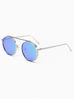 Chunky Frame Metal Oval Mirror Sunglasses - Ice Blue