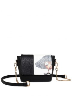 Characters Printed Chain Colour Spliced Crossbody Bag - Black