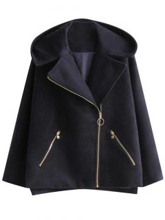 Hooded A Line Wool Blend Coat - Cadetblue S