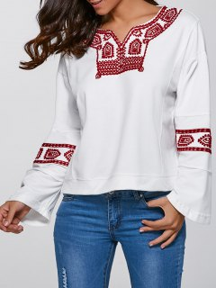 Relaxed Fit Embroidered Sweatshirt - White S