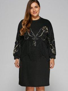 Sequins Fringed Sweatshirt Dress - Black