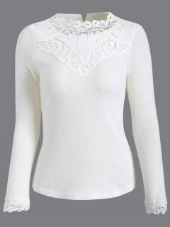 Crochet Garniture Jumper - Blanc L