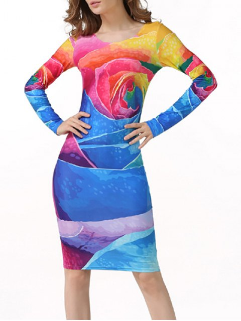 best Tie-Dyed Long Sleeve Bodycon Dress - MULTICOLOR M Mobile