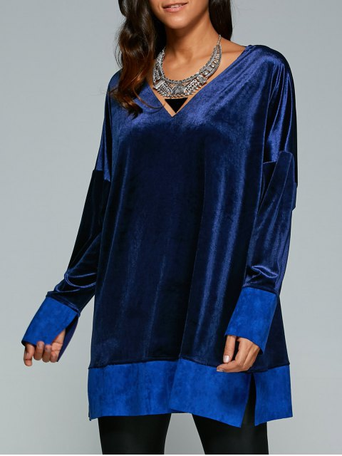shops Contrast Hem Side Slit Velvet Dress - SAPPHIRE BLUE S Mobile