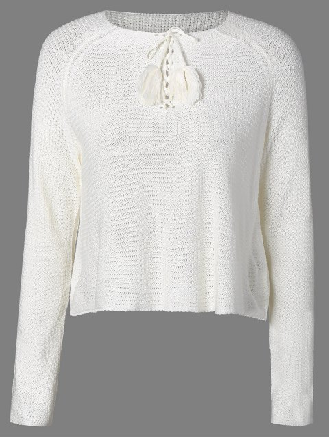 outfits Fringed Lace-Up Sweater - WHITE M Mobile