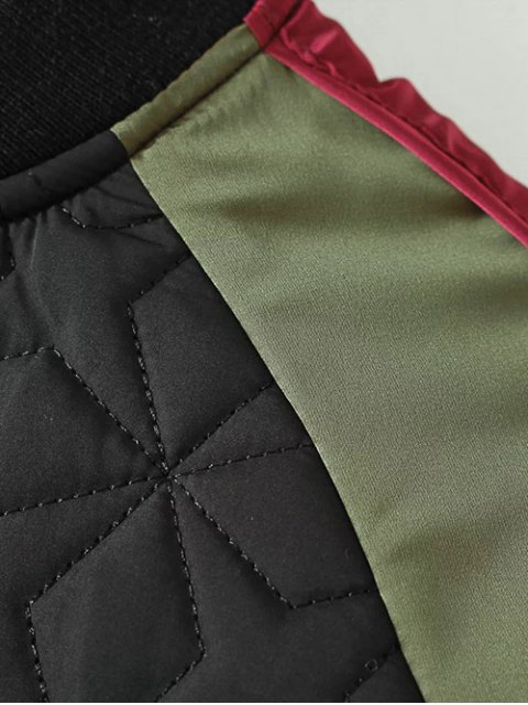 hot Tiger Embroidered Quilted Souvenir Jacket - BLACK M Mobile