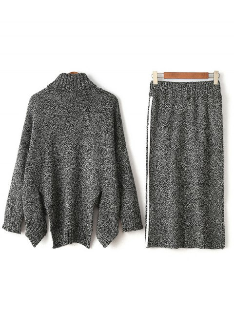 buy Turtle Neck Sweater and Skirt - GRAY ONE SIZE Mobile