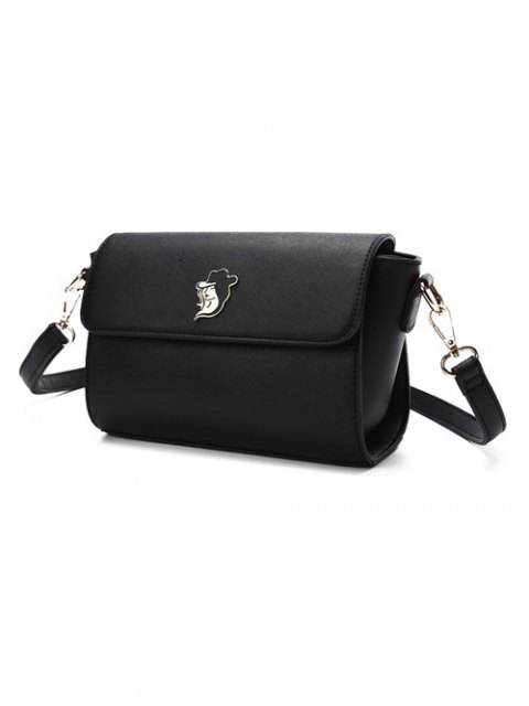 womens Magnetic Closure Textured Leather Metal Crossbody Bag - BLACK  Mobile