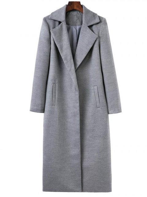 fancy Longline Lapel Collar Cocoon Coat - GRAY S Mobile