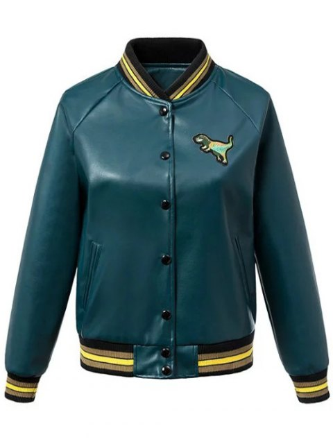 shop PU Leather Baseball Jacket - BLACKISH GREEN M Mobile
