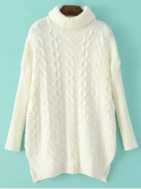 shop Side Split Turtle Neck Cable Knit Sweater - OFF-WHITE ONE SIZE Mobile