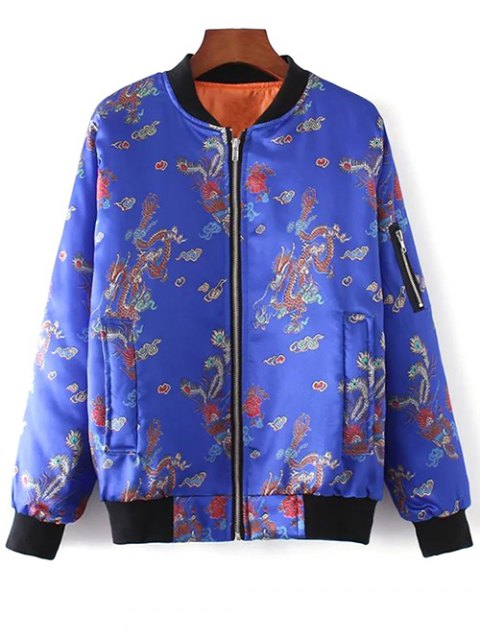 sale Printed Zippered Padded Jacket - BLUE L Mobile