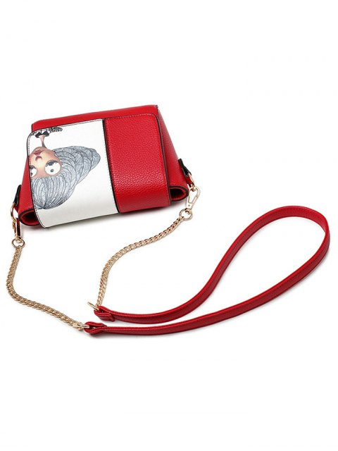 hot Characters Printed Chain Colour Spliced Crossbody Bag - RED  Mobile