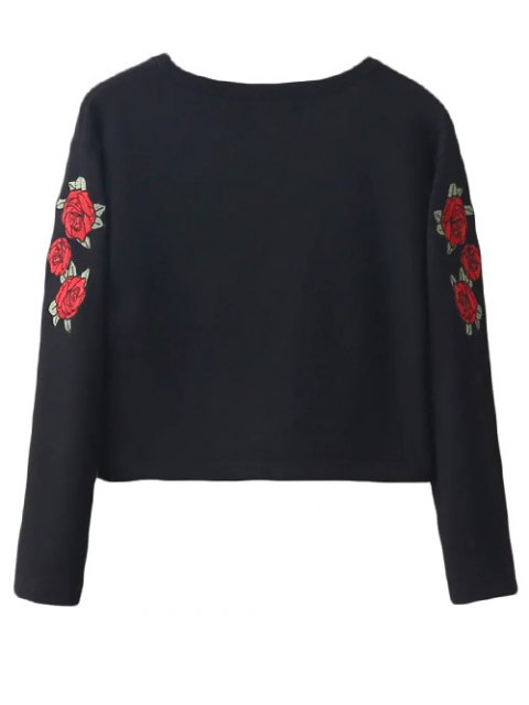 fashion Floral Embrodiered Cropped Sweatshirt - BLACK S Mobile