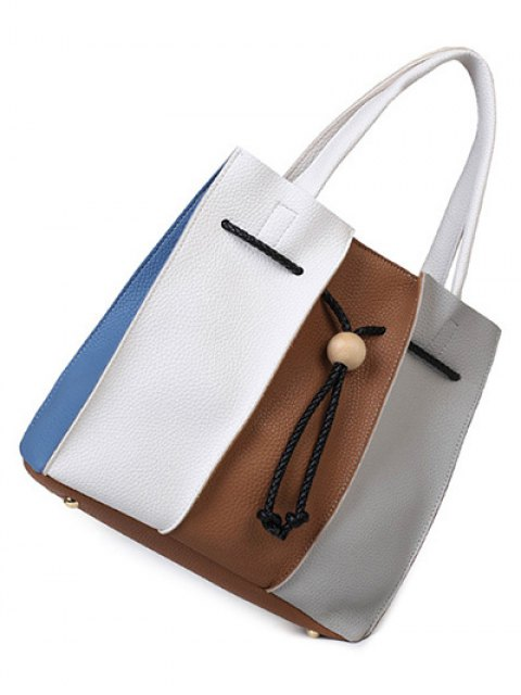 affordable String Textured Leather Colour Block Tote Bag - WHITE AND BROWN  Mobile