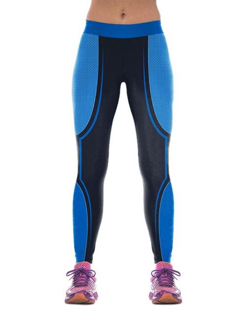 lady Skinny Color Block Gym Pants - BLUE M Mobile