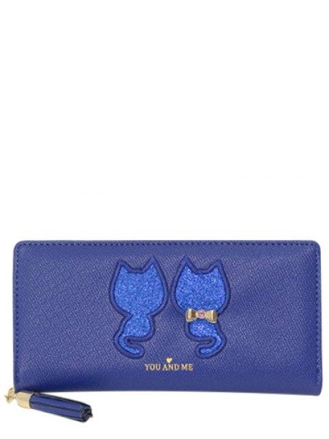 women Sequins Cat Pattern Tassels Wallet - BLUE  Mobile