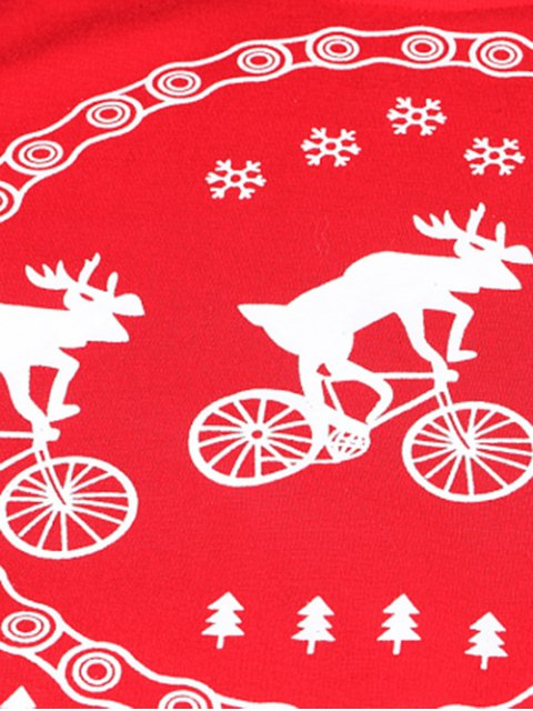 chic Merry Christmas Fawn Print Sweatshirt - RED XL Mobile