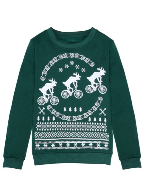 womens Merry Christmas Fawn Print Sweatshirt - GREEN M Mobile
