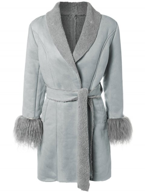 lady Faux Lamb Wool Coat - LIGHT BLUE ONE SIZE Mobile