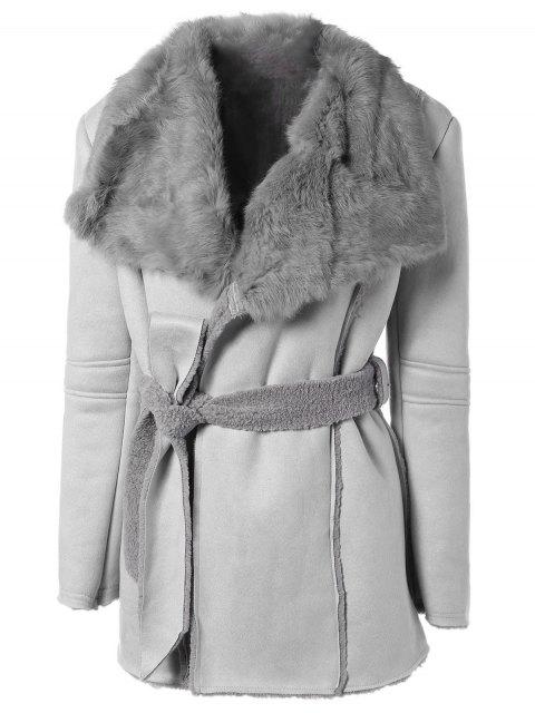 best Rabbit Fur Collar Fleece Coat - GRAY ONE SIZE Mobile