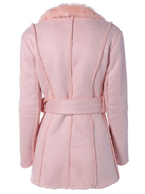 online Rabbit Fur Collar Fleece Coat - PINK ONE SIZE Mobile