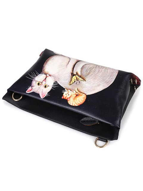 shops Cat Printed Colour Block Rivets Crossbody Bag - BLACK  Mobile