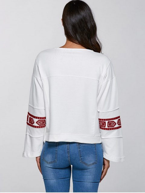 lady Relaxed Fit Embroidered Sweatshirt - WHITE S Mobile