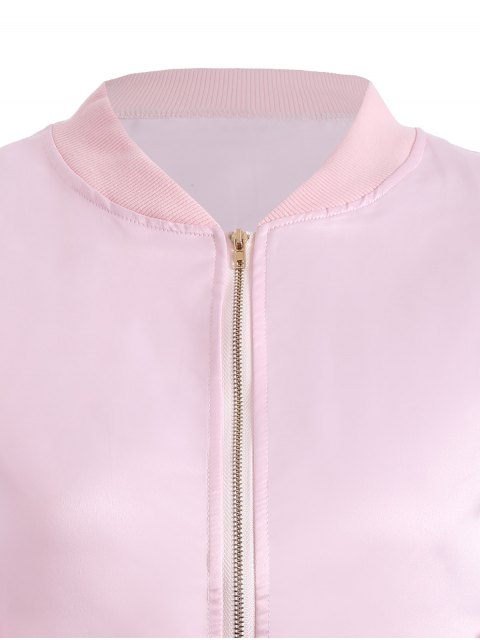 fashion Zip-Up Bomber Jacket - PINK S Mobile