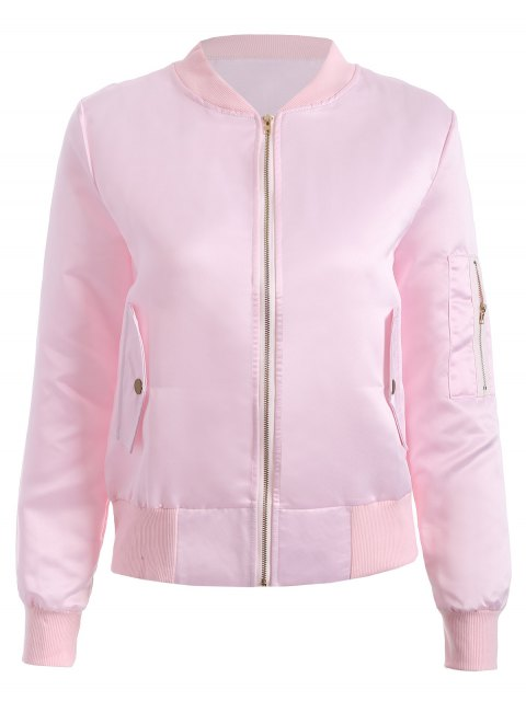 latest Zip-Up Bomber Jacket - PINK L Mobile