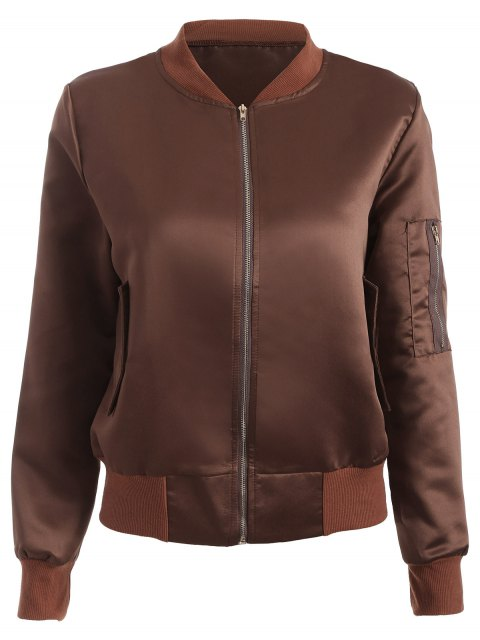 chic Zip-Up Bomber Jacket - COFFEE XL Mobile