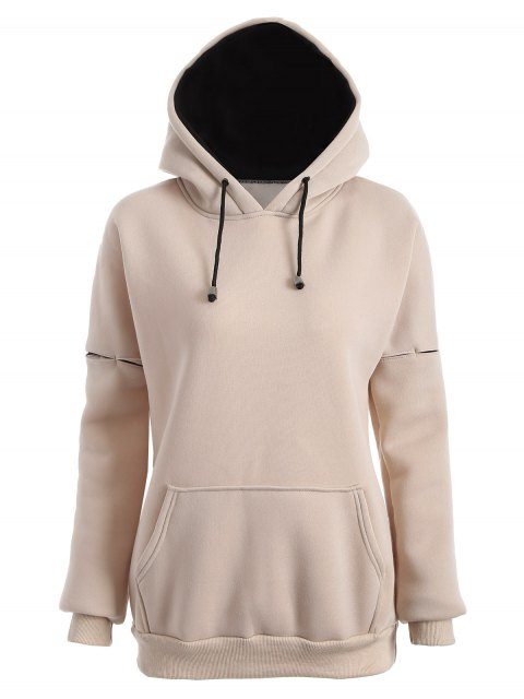chic Raglan Sleeve Pullover Hoodie - APRICOT M Mobile