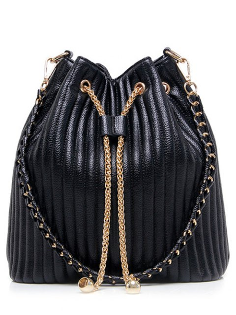 unique Drawstring Magnetic Closure Chain Shoulder Bag - BLACK  Mobile