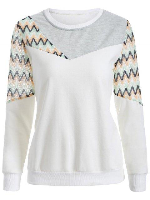 unique See-Through Panelled Sweatshirt - WHITE 2XL Mobile